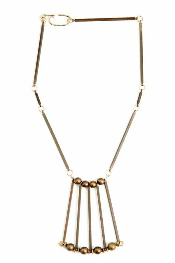 Long Brass Connector Necklace