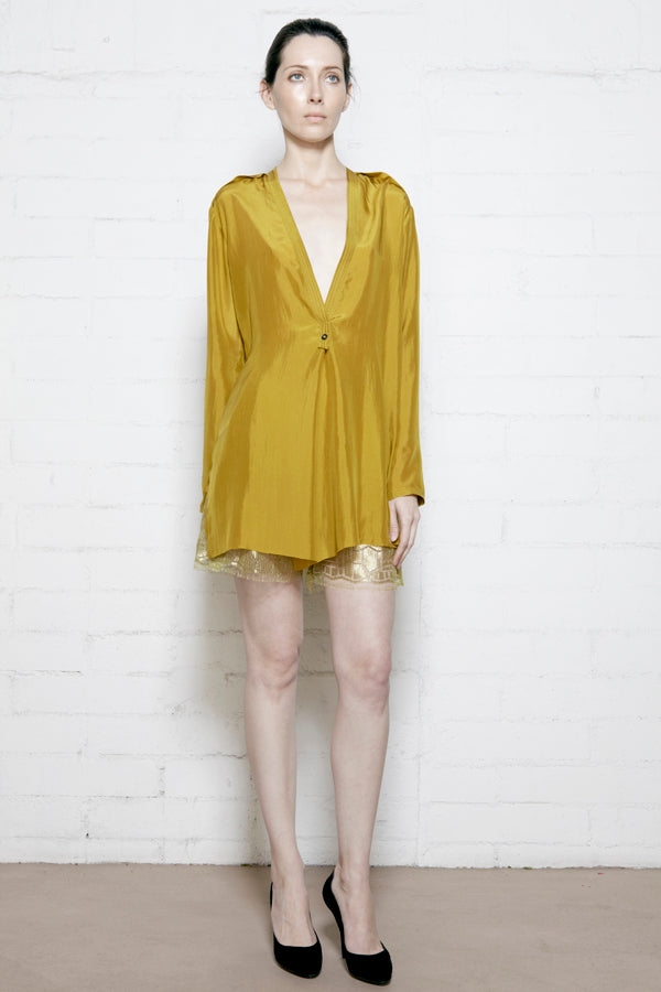 Chartreuse Silk Long Sleeved Deep V Blouse