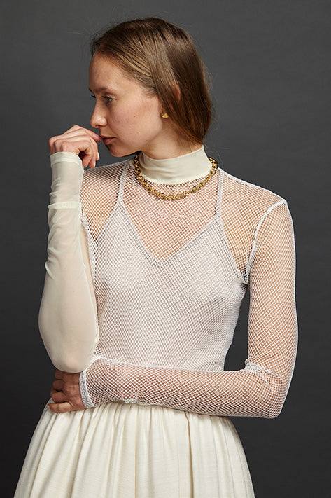 Mesh / Net Mock Neck Turtleneck