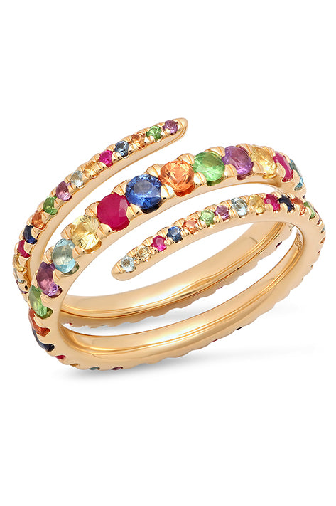 Multi-Colored Coil Ring