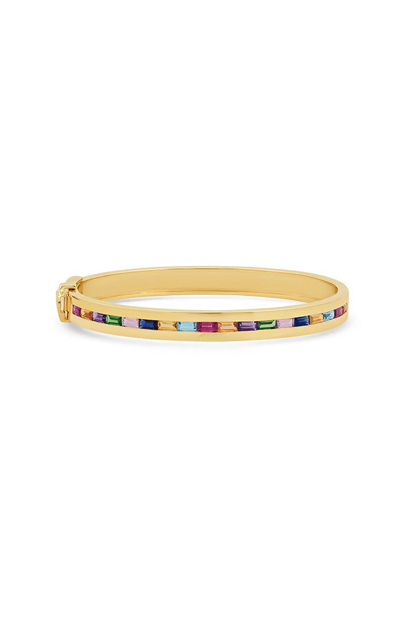 Multi Colored Baguette Row Bangle