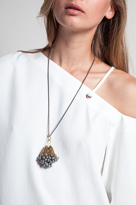 Caviar's Nest Necklace Freshwater Long Grey + White Pearl Cluster