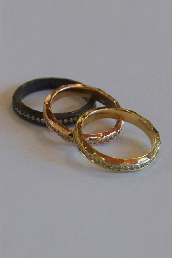 18K Gold Bands + Diamonds Ring
