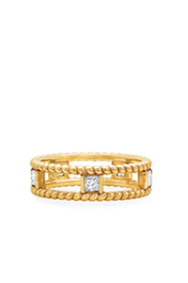 Gold Double Twist Ring with Diamonds