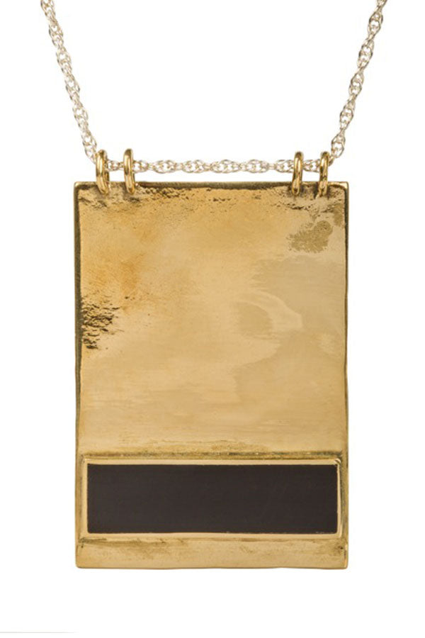 Hand Cut Onyx in Bronze Rectangle