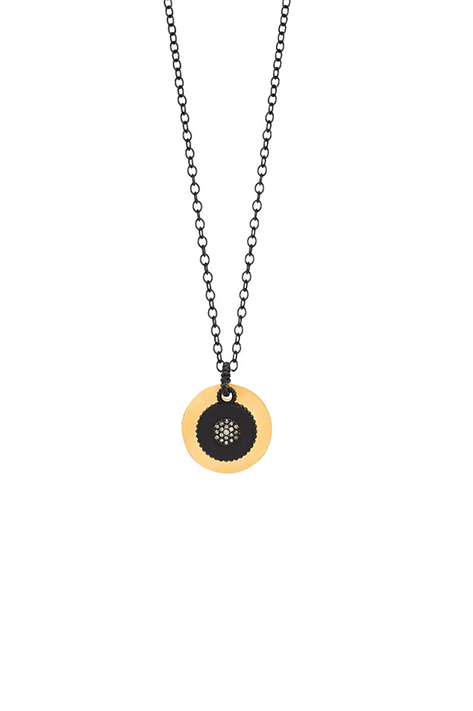 Oxidized Silver and Diamond Pendant Layered with 14K Yellow Gold Disc