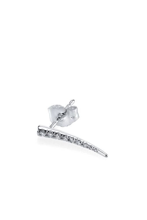 14K White Gold Pave Drop Down Tusk Earring