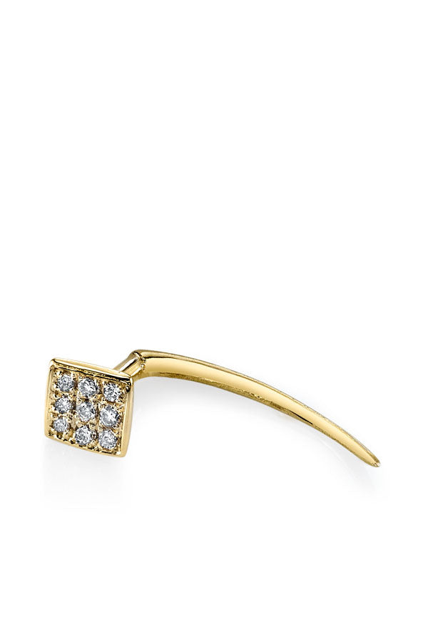 Pave Square Infinite Tusk Earring