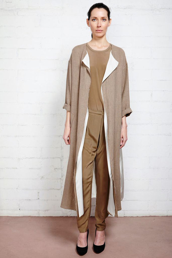 Taupe Pelag Silk Pleated Trousers