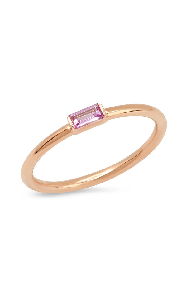 PINK SAPPHIRE BAGUETTE SOLITAIRE RING
