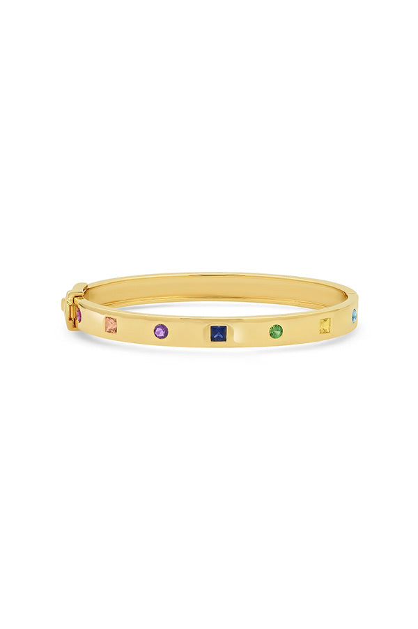 Multi Colored Princess Cut and Round Bangle