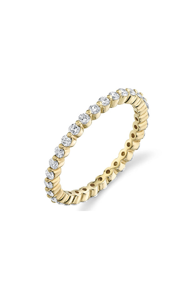 Prong Axis Ring with Pavé White Diamonds