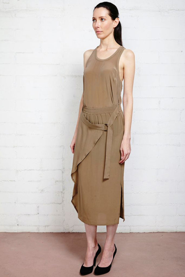 Reda Silk Taupe Wrap Skirt with Buckle