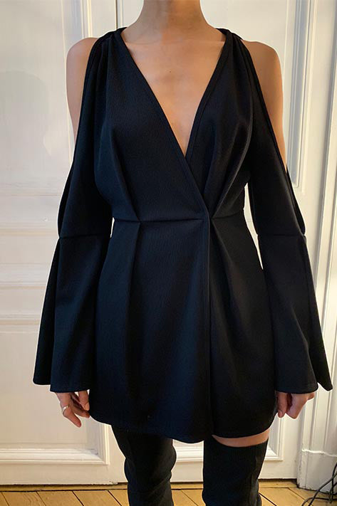 Rib Shoulder Cut-Out Wrap Dress