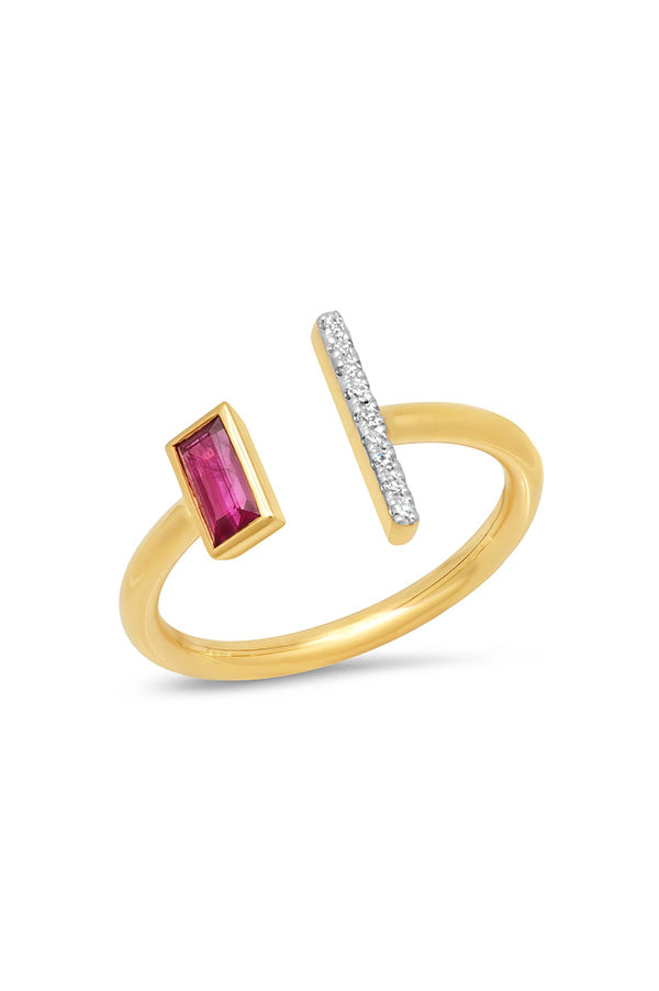 Open Ruby and Diamond Bar Ring