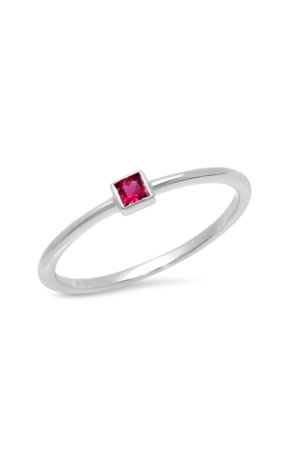 Ruby Princess Cut Pinky Ring