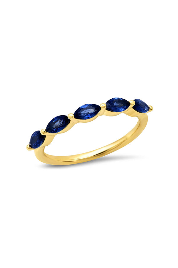Blue Sapphire Marquise Half Eternity Band