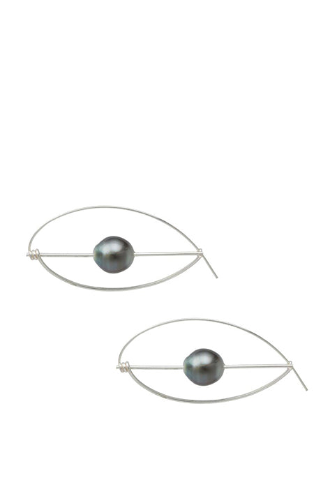 Serpents Eye Sterling Silver + Pearl Earrings
