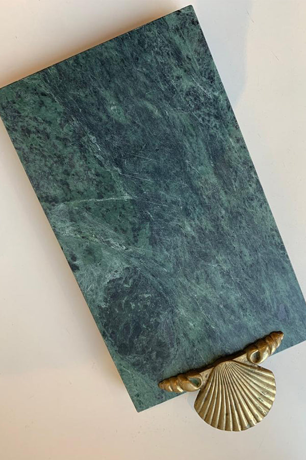 Heavy Granite Marble Tray with Bronze Seashell Accent