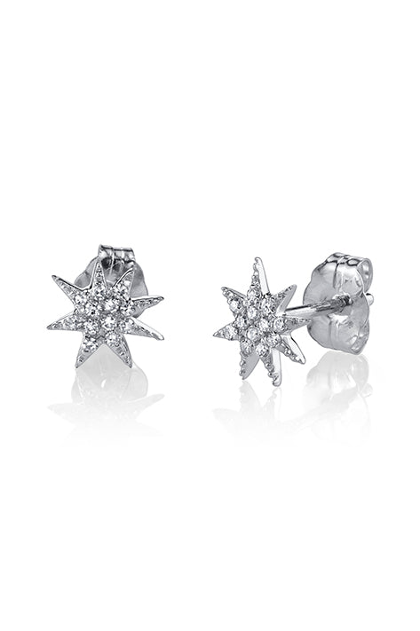 Single Shooting Star Earrings with Pave Diamonds (Pair)