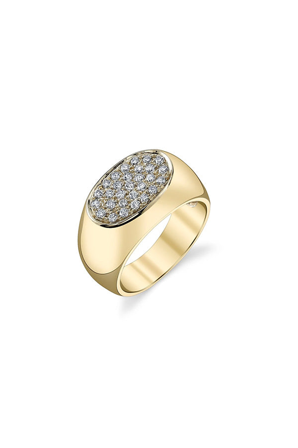 Signet Ring With White Pavé Diamonds