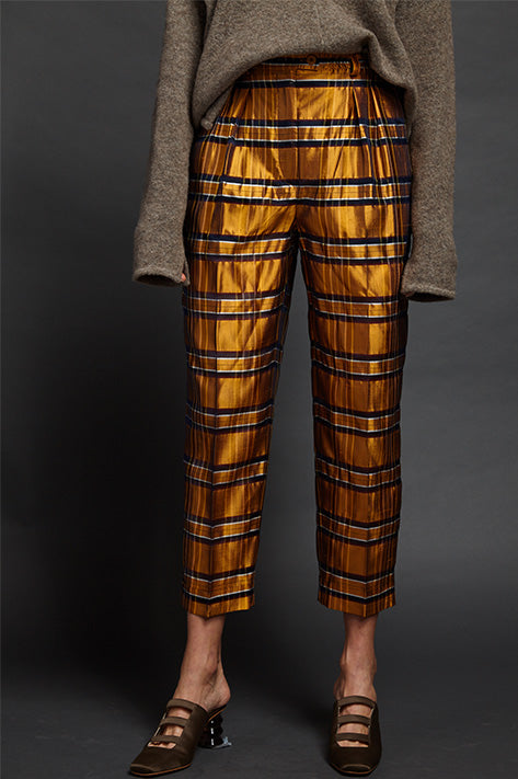 Silk Check Trouser with Cuff