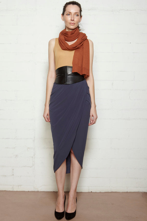 Silk Long Wrap Skirt