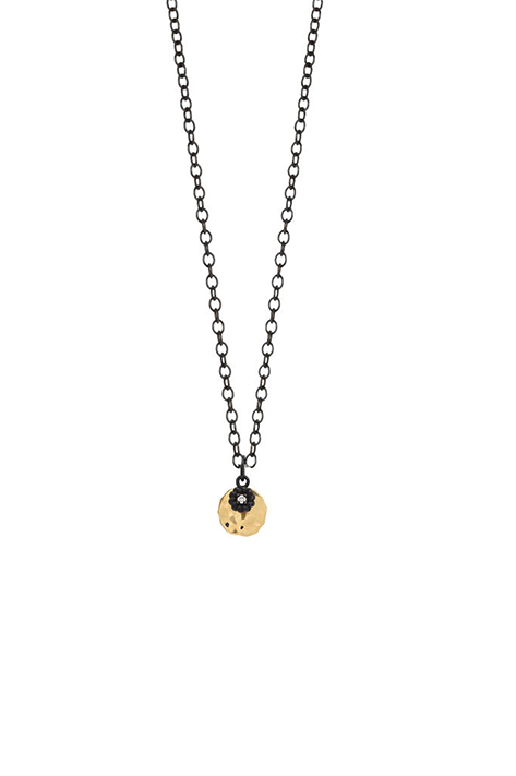 Small 14K Yellow Gold Disc Layered with Oxidized Silver Diamond Charm