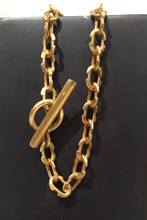 Tiny Deco Link Choker Chain in Acid Gold