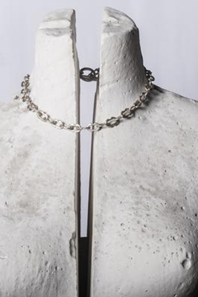 Tiny Deco Link Choker Chain in Sterling Silver