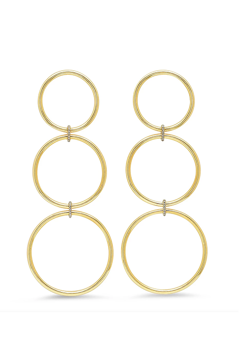 Triple Loop Earrings with Diamond Links