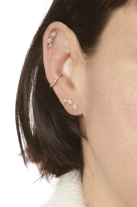 Triple Star Earrings with Pave Diamonds (Pair)