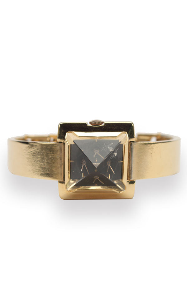 Vintage 18K Yellow Gold Pyramid Watch With Black Face