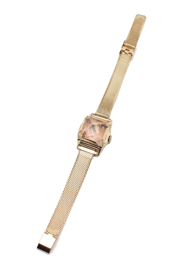 Vintage 18K Yellow Gold Pyramid Watch With Rose Gold Face