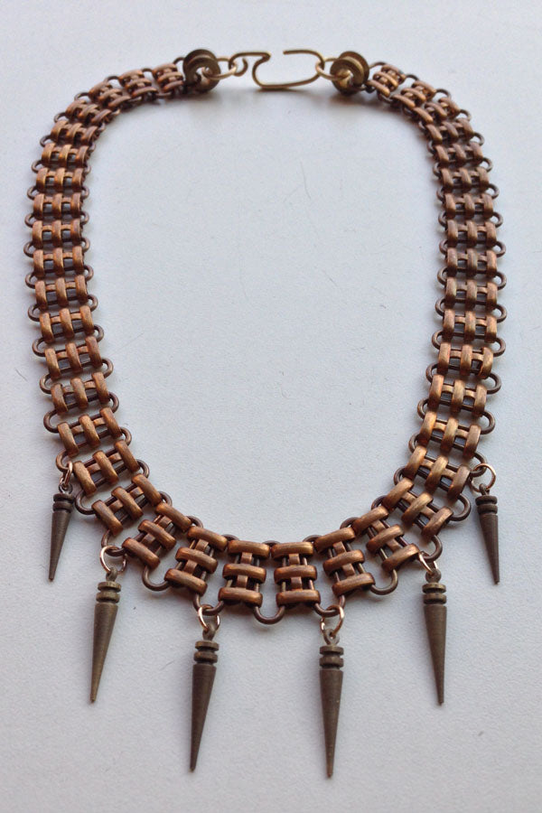 Vintage Railroad Chain + Spike Collar