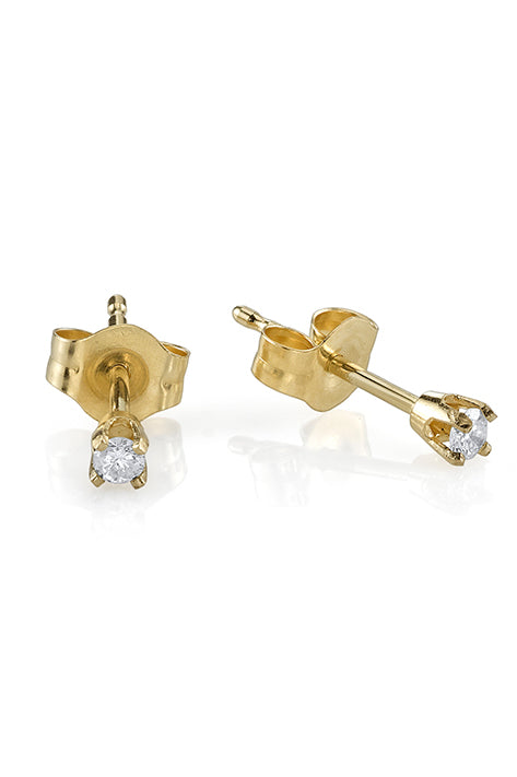 Baby Prong Earrings with Mini Diamond