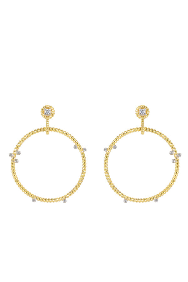 Yellow Gold and Diamond Floating Hoops