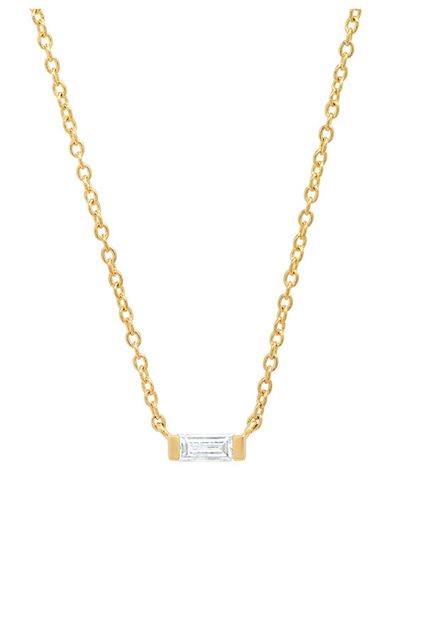 Solitaire Diamond Baguette Necklace
