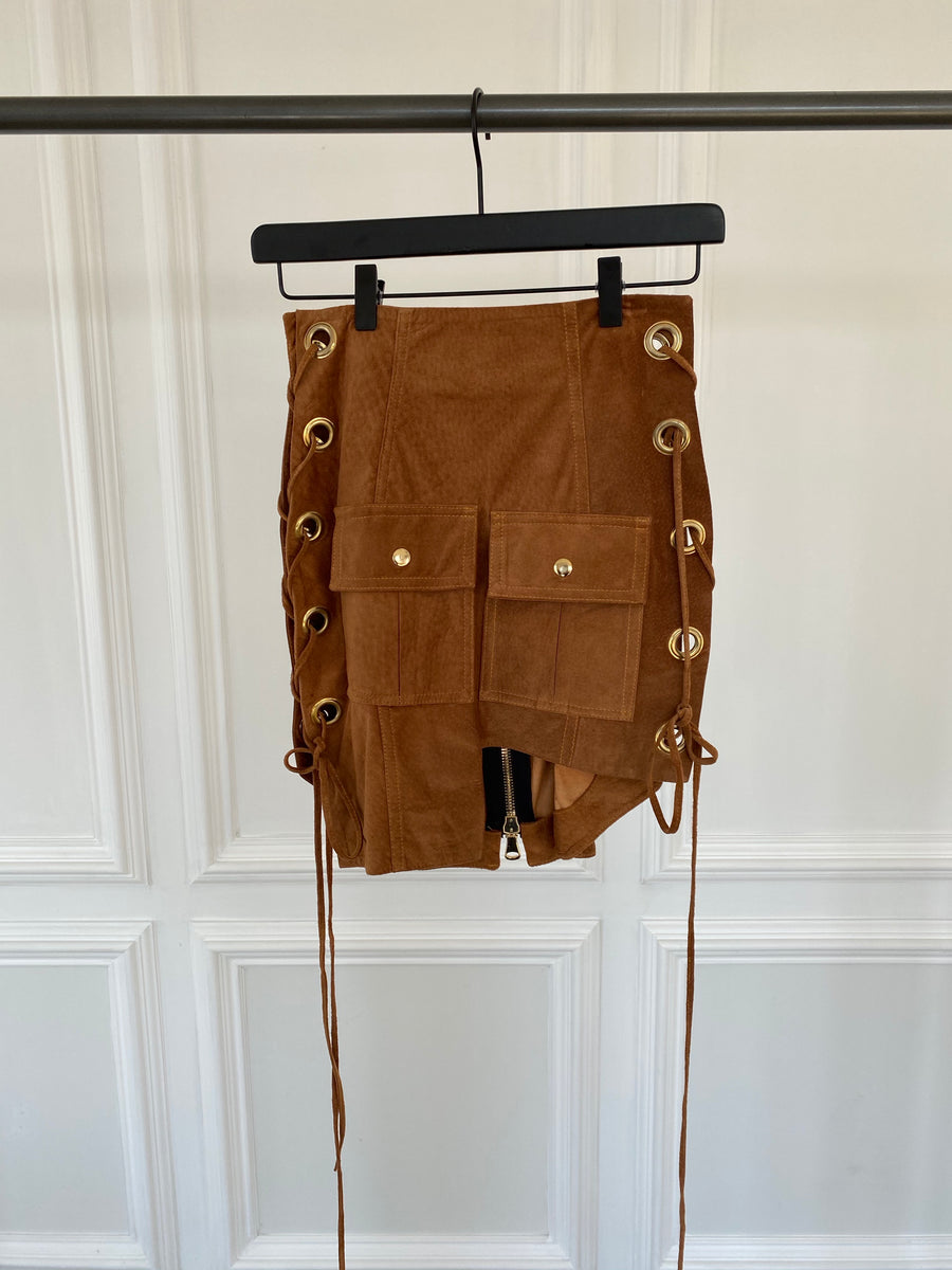 Tan Suede Leather Skirt with Side Tie