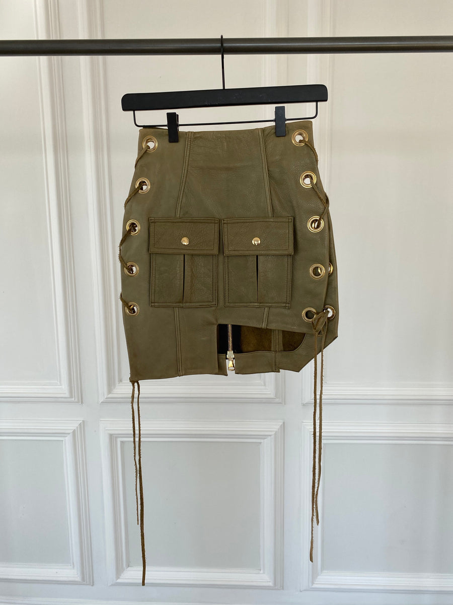 Olive Leather Skirt with Side Tie