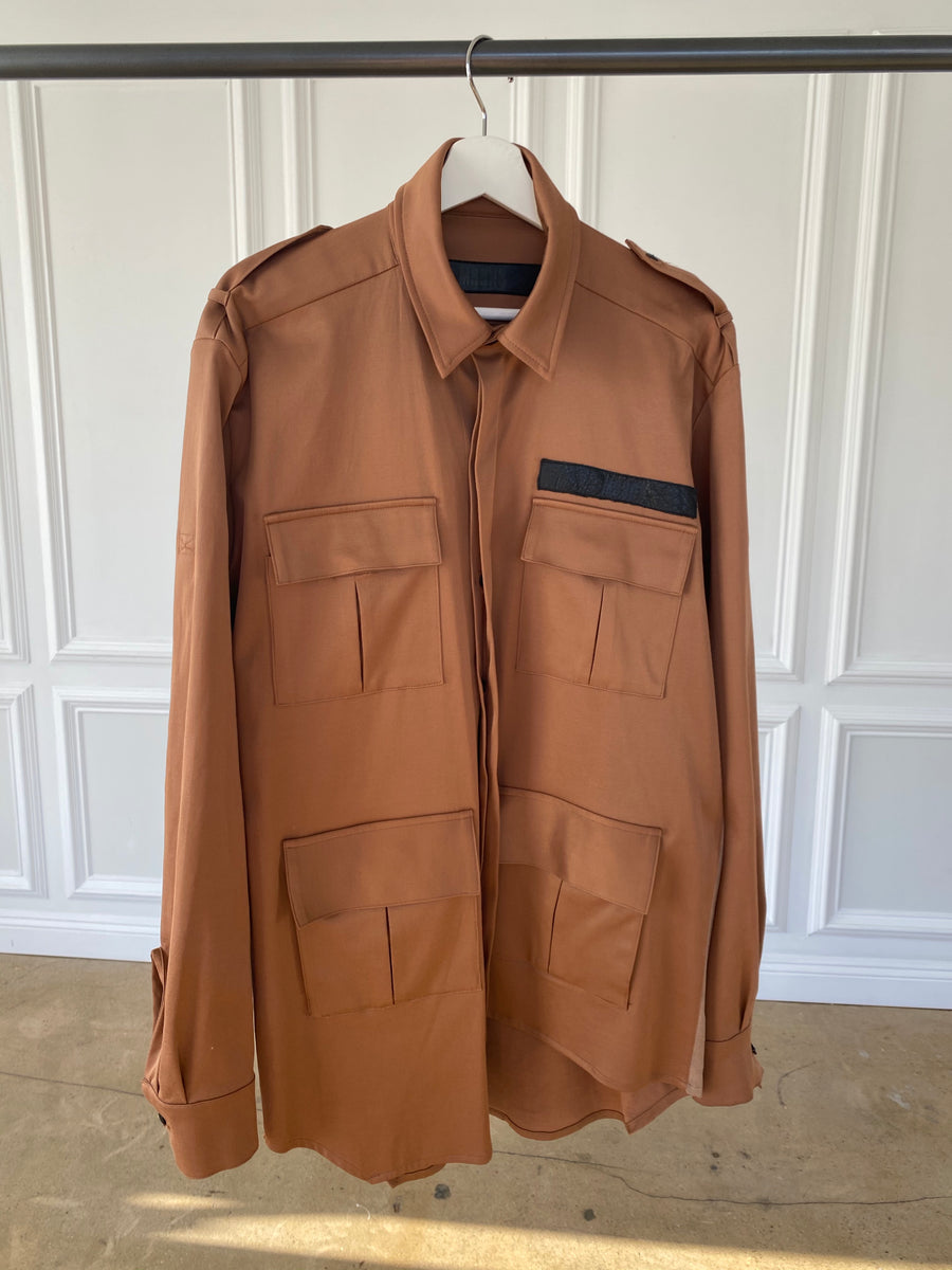 Copper Shirt Jacket with Black Buttons & Leather Pocket Accent