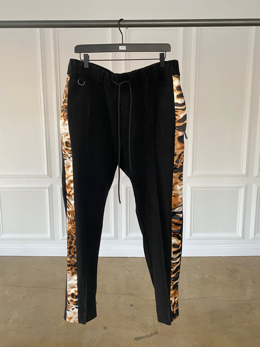 Black with Leopard Print Side Stripe