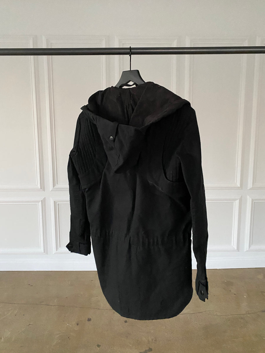 Black Canvas Jacket with Suede Hood