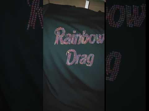 T-shirt Rhinestone clear AB Rainbow Drag.