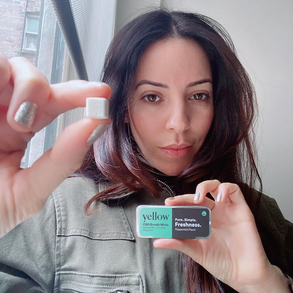 Yellow CBD product review for CBD Mints