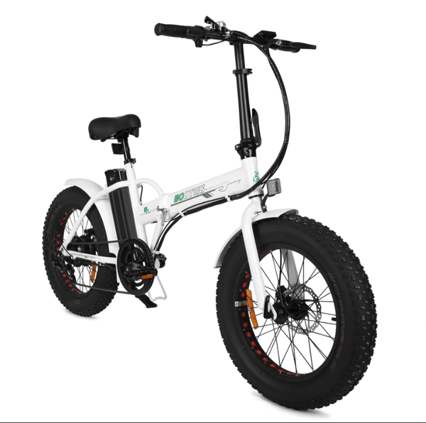 Ecotric Fat Tire Portable and Folding Electric Bike-White and Blue - Pure Energy Bikes