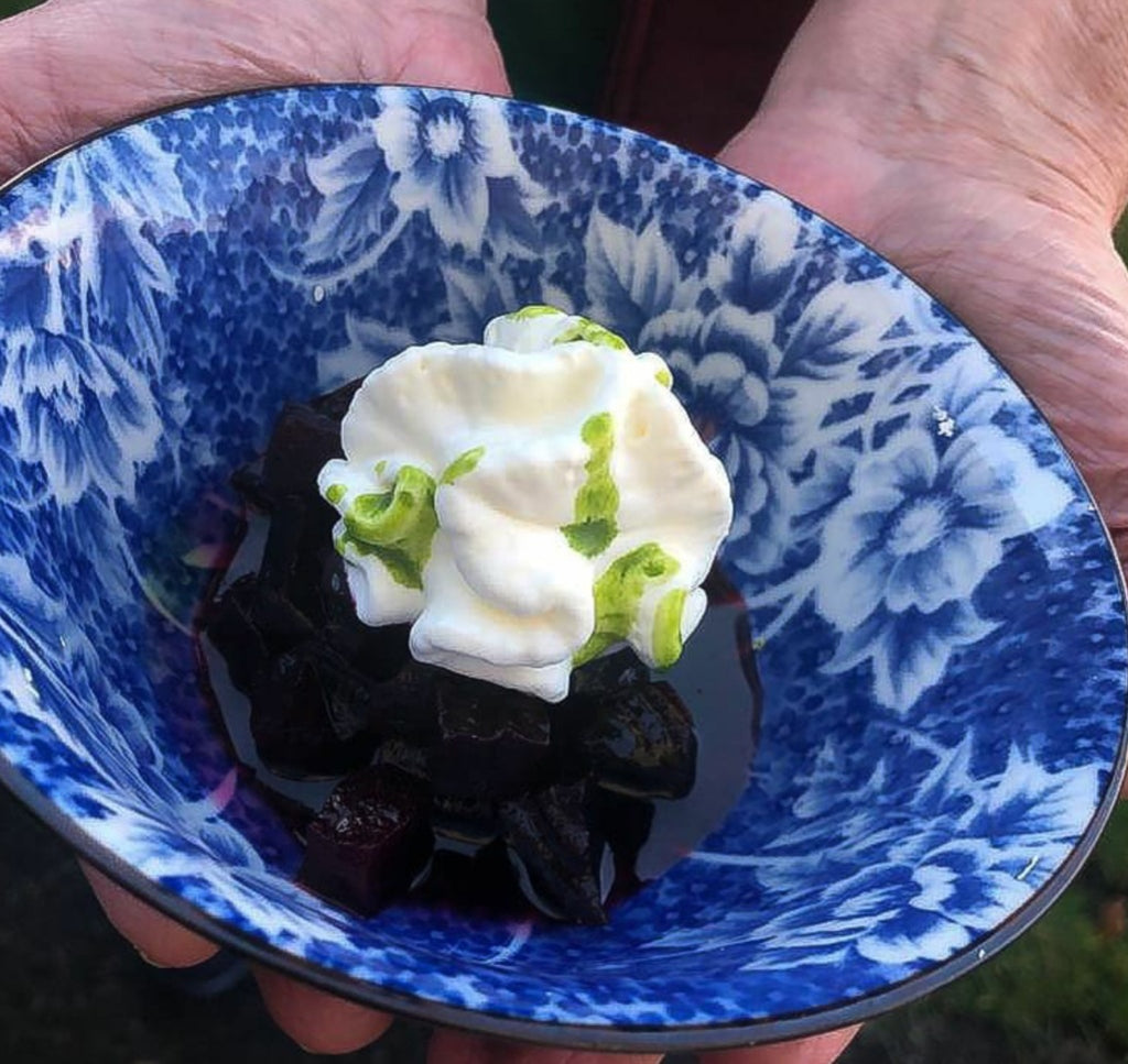Candied beetroot with sheep's yogurt and dill oil