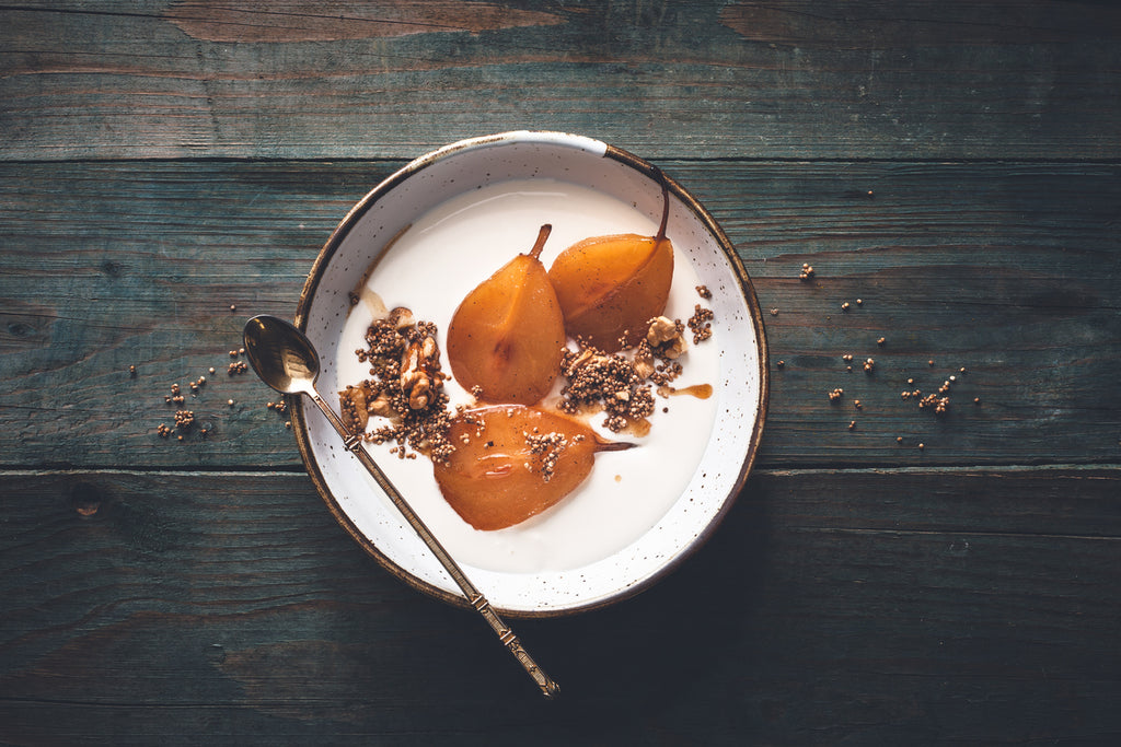 Roast Pears  - With Honey & Ginger Velvet Cloud Sheep's Milk Yogurt