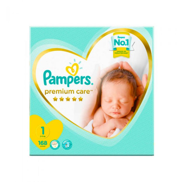 Pampers Premium Care Diapers for Newborn Size 1 Megabox of 168