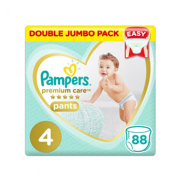 Pampers Premium Care Pants Diapers, Size 4, 9-14 kg, Double Jumbo Pack of 88